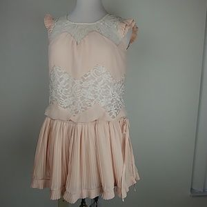 Chiffon mini pleated mini, peach & lace dress